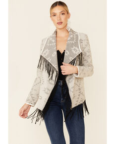 Powder River Outfitters Women's Cream Aztec Print Self Fringe Open Front Wool Jacket , Cream, hi-res