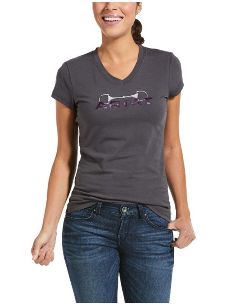 Ariat Women's Periscope Bit Logo Graphic Tee , Grey, hi-res