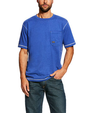 Ariat Men's Rebar Short Sleeve Work T-Shirt - Tall , Blue, hi-res
