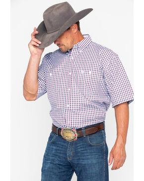 George Strait by Wrangler Men's Red Small Plaid Short Sleeve Western Shirt, Red, hi-res