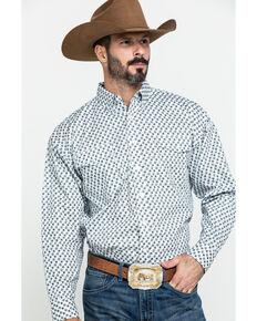 Panhandle Select Men's Grey Poplin Geo Print Long Sleeve Western Shirt , Grey, hi-res