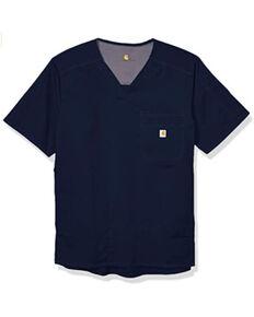 Carhartt Men's 2XL Solid Navy Ripstop Scrub Utility Short Sleeve Work Shirt , Navy, hi-res