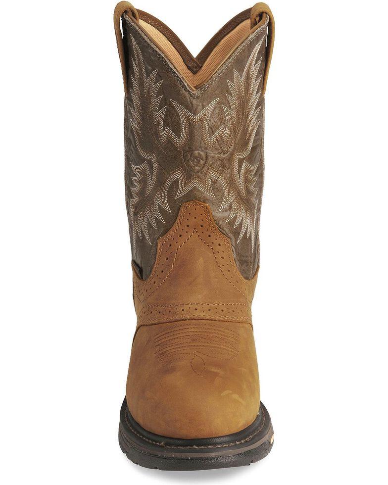 Ariat Men's Brown H20 Workhog Work Boots - Round Toe, Aged Bark, hi-res