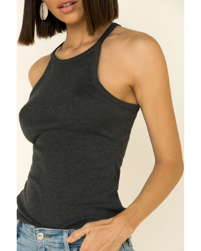 Shyanne Women's Heather High Neck Tank Top, Charcoal, hi-res