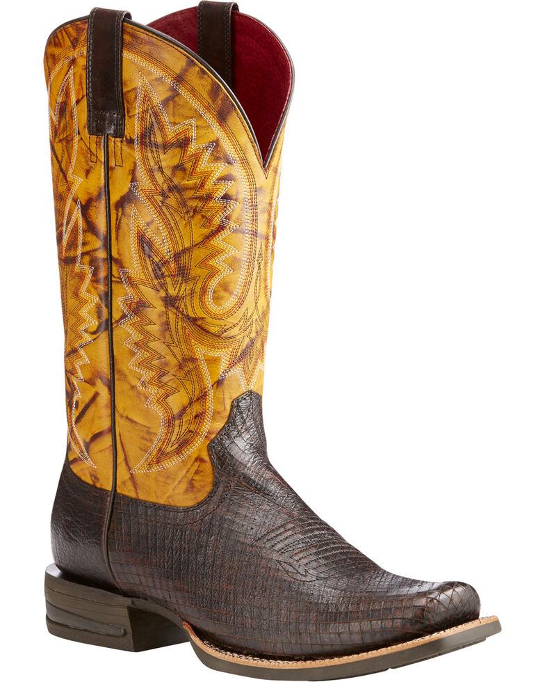 Ariat Men's Relentless Advantage Two Tone Serpent Cowboy Boots - Square Toe, Dark Brown, hi-res
