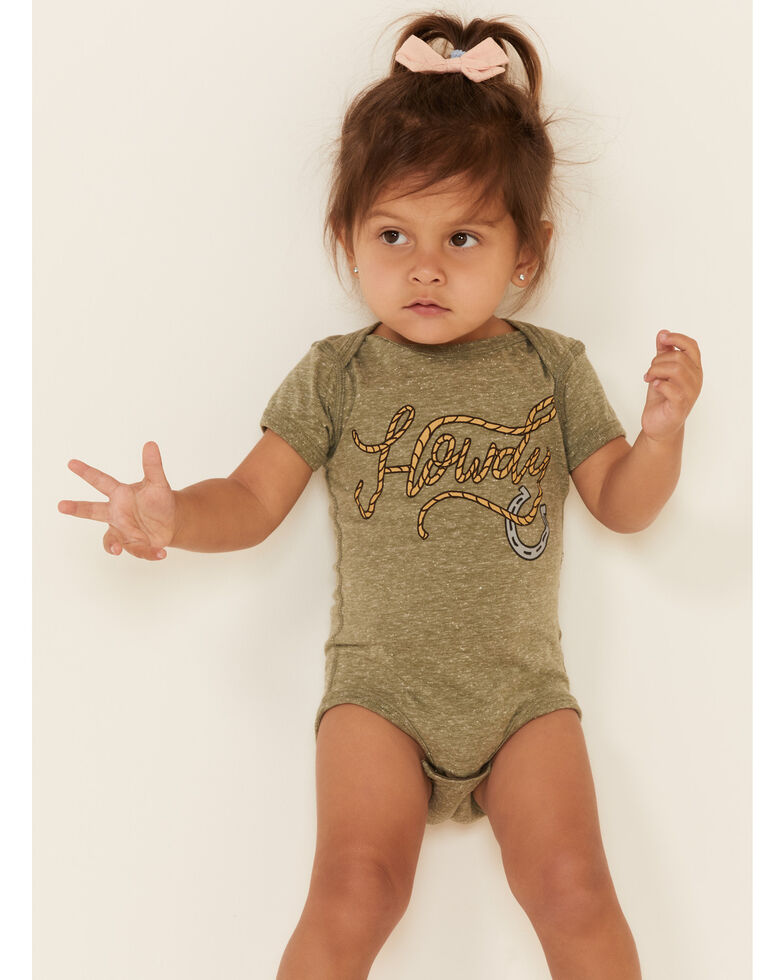 Rodeo Quincy Infant Girls' Tan Howdy Rope Graphic Short Sleeve Onesie , Tan, hi-res