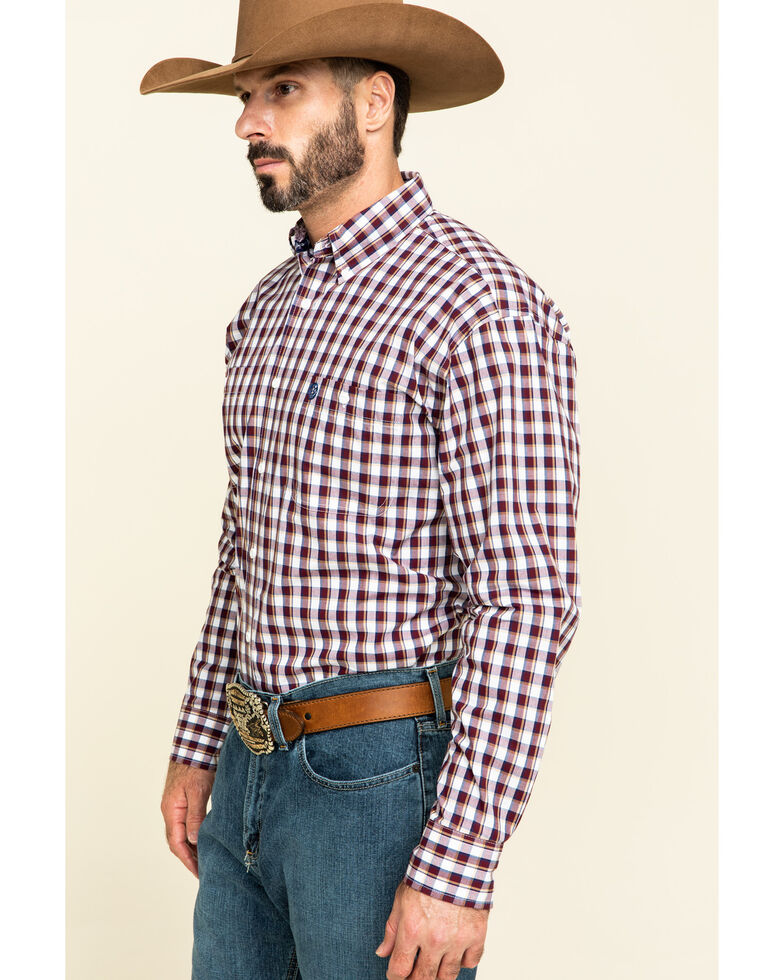 George Strait by Wrangler Men's Burgundy Small Plaid Button Long Sleeve Western Shirt - Tall, Burgundy, hi-res