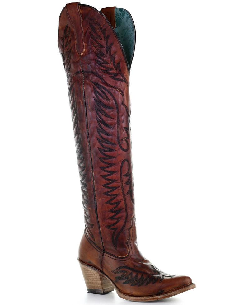 Corral Women's Cognac Embroidery Tall Boots - Snip Toe, Cognac, hi-res