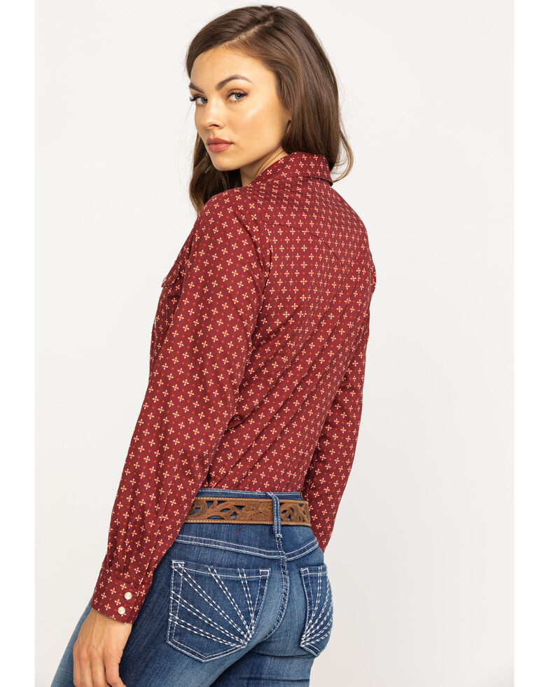 Amarillo Women's Fireside Geo Print Long Sleeve Western Shirt, Red, hi-res