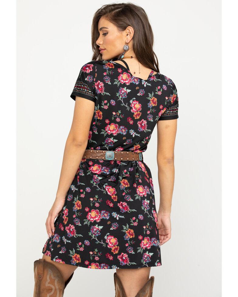 Studio West Women's Floral Woven Dress, Black, hi-res
