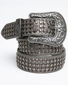 Shyanne Women's Triple Row Pewter Studded Belt, Pewter, hi-res