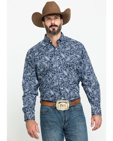 Tuf Cooper Men's Navy Stretch Paisley Print Long Sleeve Western Shirt , Navy, hi-res
