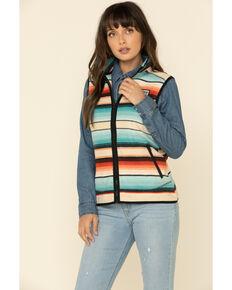 HOOey Women's Turquoise Serape Zip Vest, Turquoise, hi-res