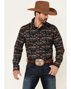 Dale Brisby Men's Black Desert Print Long Sleeve Snap Western Shirt , Black, hi-res