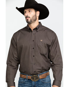 Cinch Men's Brown Geo Print Plain Weave Long Sleeve Western Shirt , Brown, hi-res
