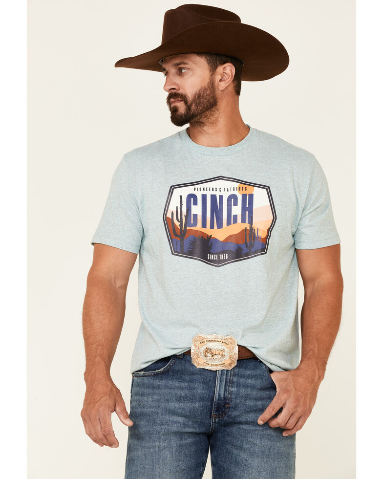 Cinch Men's Heather Turquoise Desert Scene Graphic Short Sleeve T-Shirt , Turquoise, hi-res