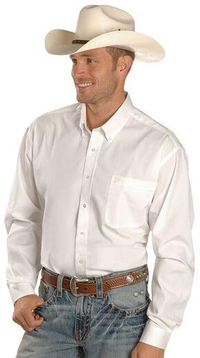 Cinch Men's Solid Button-Down Western Shirt, White, hi-res