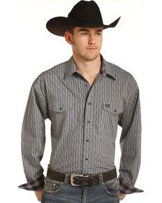 Panhandle Men's Grey Peached Poplin Print Western Shirt , Grey, hi-res