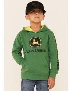 John Deere Boys' (4-7) Green Trademark Logo Sleeve Graphic Hooded Sweatshirt , Green, hi-res