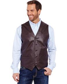 Cripple Creek Men's Lambskin Button Front Vest, Brown, hi-res