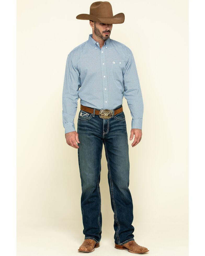 George Strait By Wrangler Men's Purple Diamond Geo Print Long Sleeve Western Shirt - Tall, Purple, hi-res