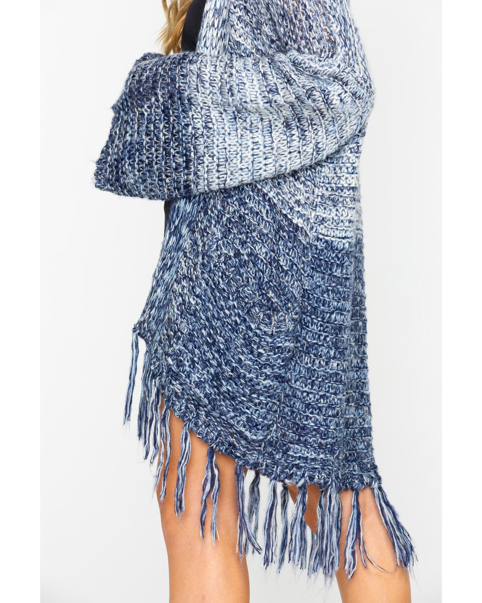 Mystree Women's Marled Fringed Hem Cardigan Sweater , Blue, hi-res
