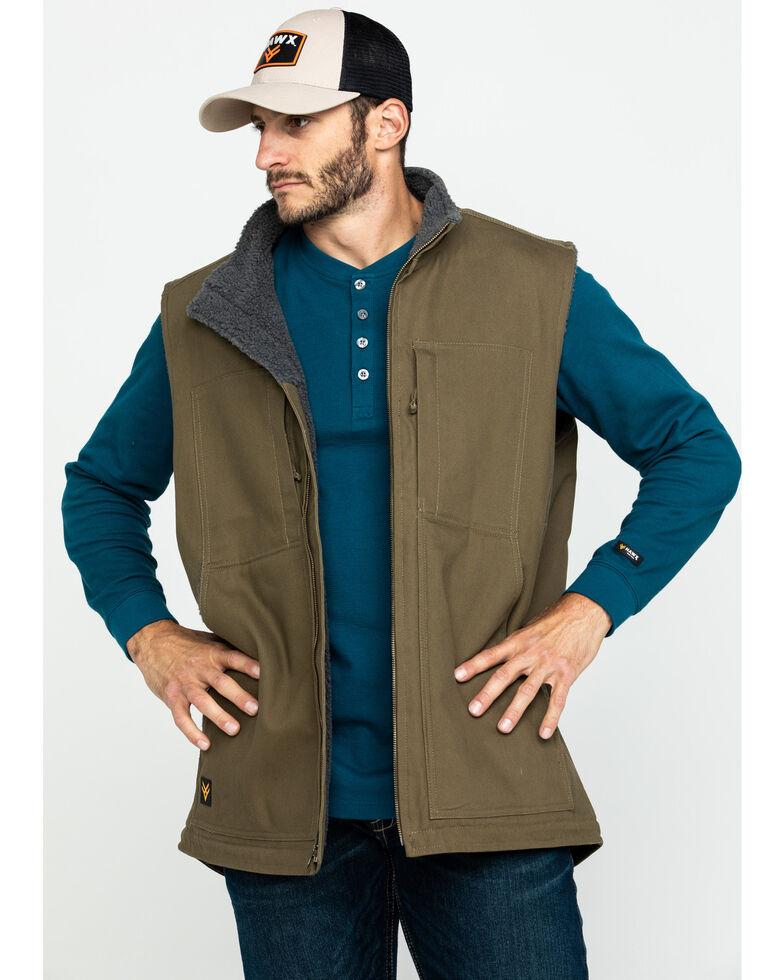 Hawx Men's Olive Canvas Sherpa Lined Work Vest , Olive, hi-res