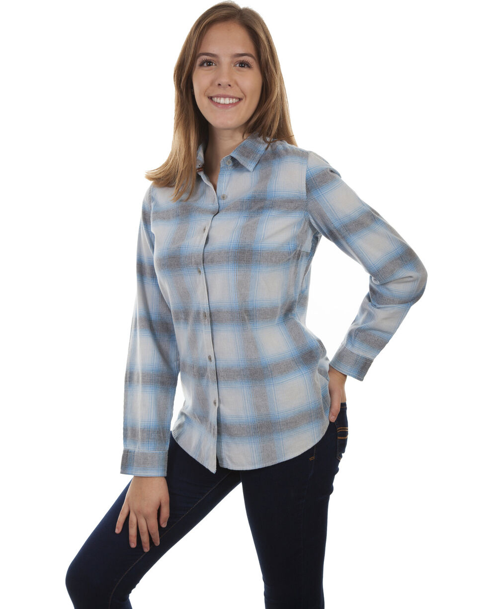Honey Creek by Scully Women's Blue Corduroy Plaid Long Sleeve Top, Blue, hi-res