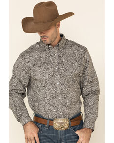 Cody James Core Men's Hawkins Large Paisley Print Long Sleeve Western Shirt - Tall , Brown, hi-res