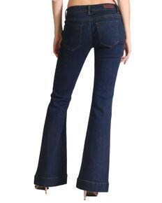 Grace In LA Women's Solid Flare Leg  Jeans, Indigo, hi-res