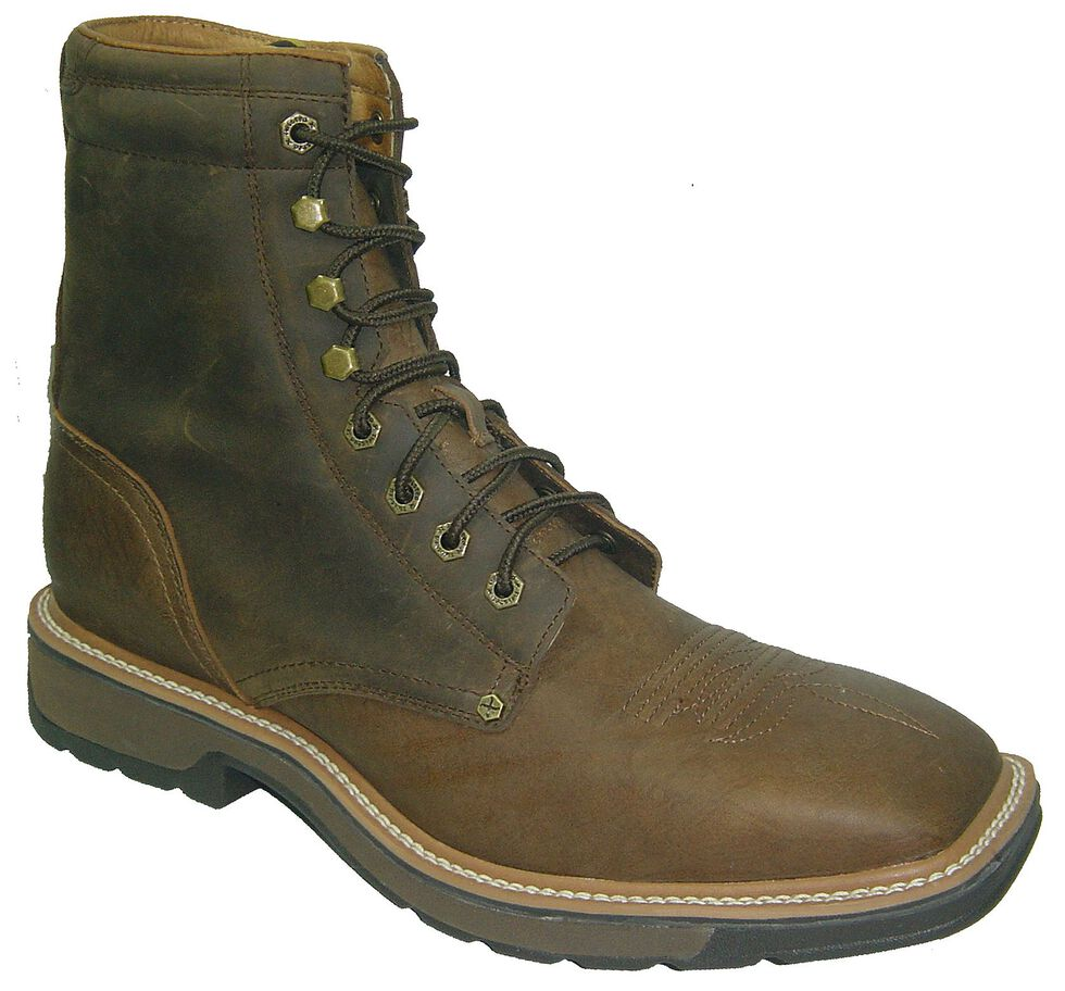 "Twisted X Lite 8"" Lace-Up Work Boots - Steel Toe, Distressed, hi-res"