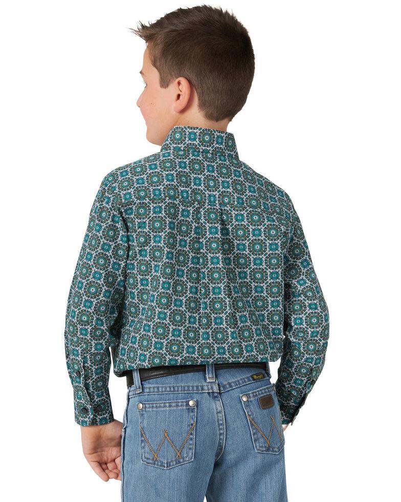 Wrangler Boys' Turquoise Medallion Print Long Sleeve Western Shirt , Turquoise, hi-res