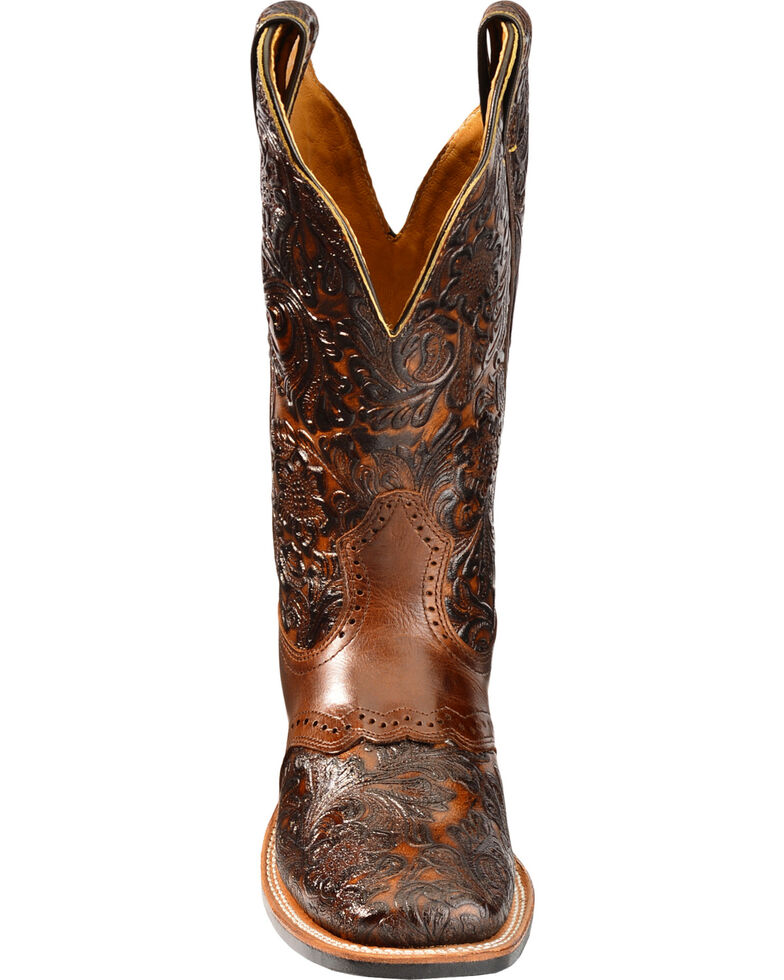 Boulet Women's Hand Tooled Dankan Ranger Western Boots - Square Toe, Brown, hi-res