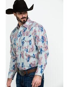Wrangler Men's Horse Aztec Checotah Print Long Sleeve Western Shirt , Grey, hi-res