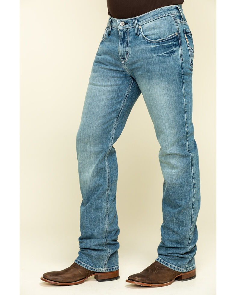Cinch Men's Ian Medium Stone Performance Slim Bootcut Jeans , Indigo, hi-res