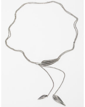 Shyanne Women's Feather Y-Necklace, Silver, hi-res