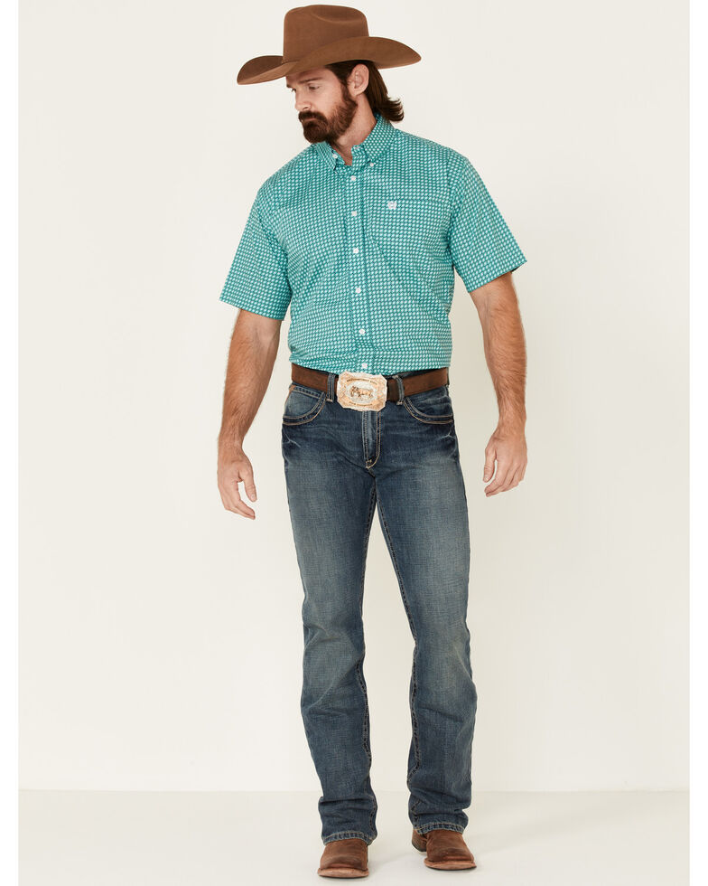 Cinch Men's Turquoise Stretch Geo Print Short Sleeve Western Shirt  , Turquoise, hi-res