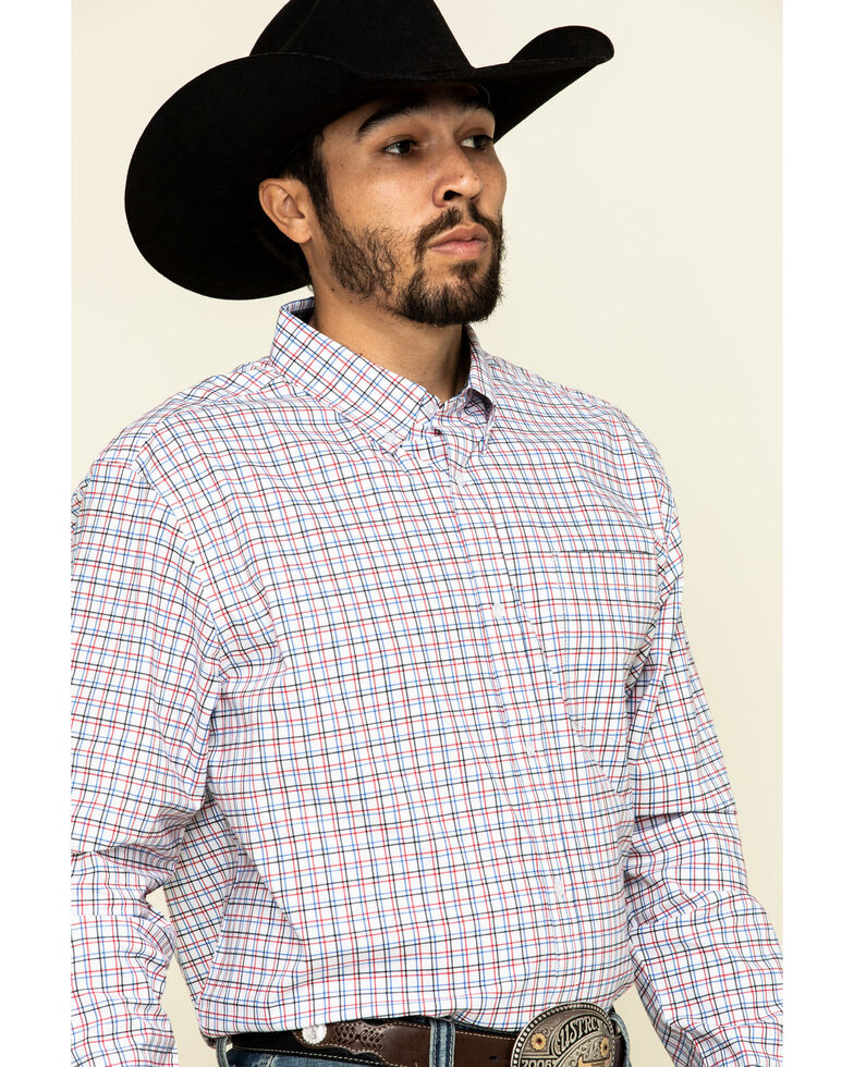 Cody James Core Men's Patriot Small Plaid Long Sleeve Western Shirt - Tall , White, hi-res