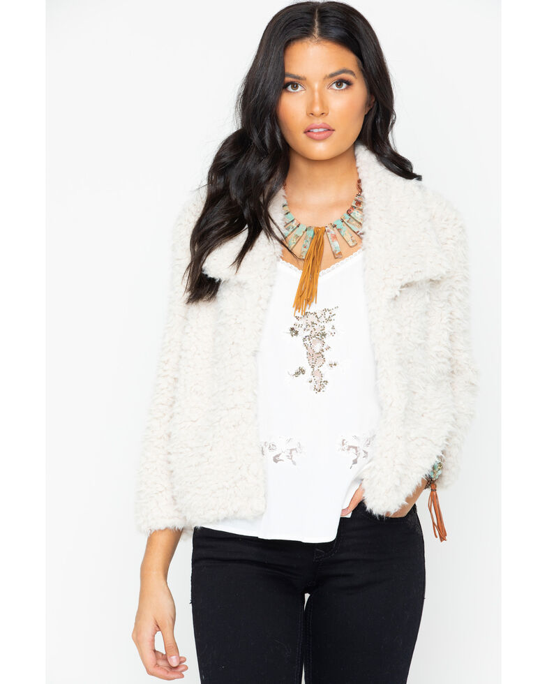 BB Dakota Women's Faux Fur Jacket, Ivory, hi-res