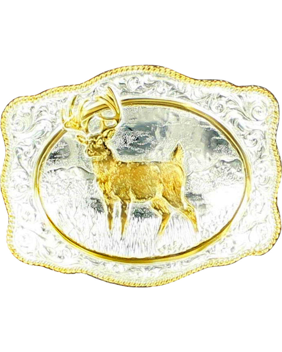 Crumrine Gold-tone White Tail Deer Buckle, Silver, hi-res
