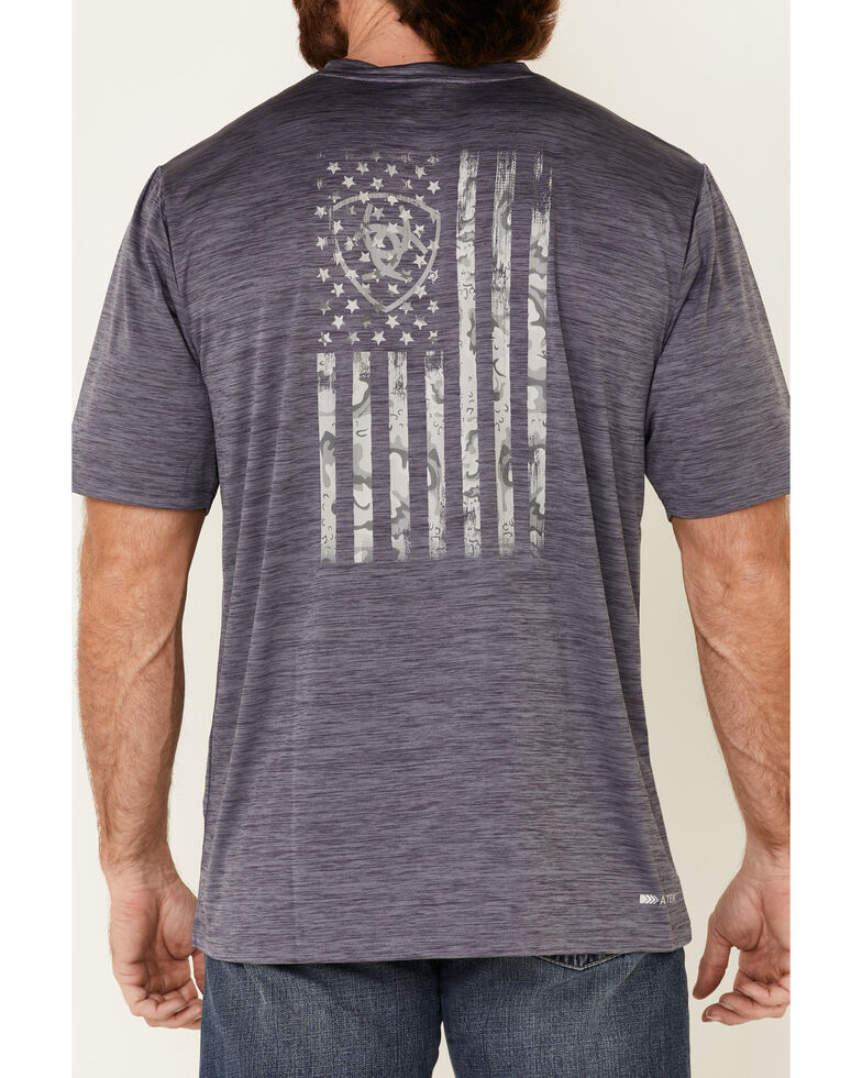 Ariat Men's Charger Flag Graphic Short Sleeve T-Shirt , Grey, hi-res