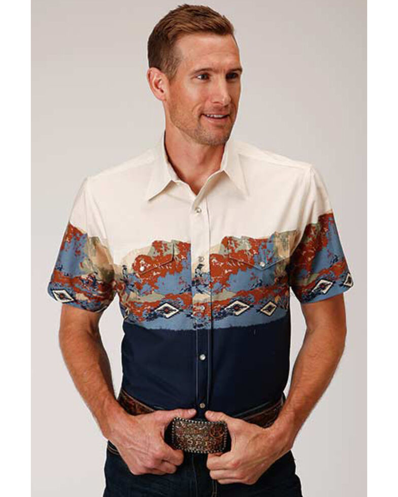 Roper Men's Scenic Riding Border Print Short Sleeve Western Shirt , Blue, hi-res