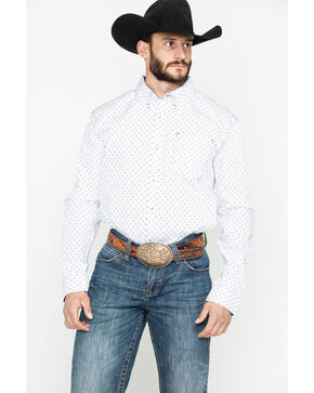 Cody Core Men's Rock Salt Geo Print Long Sleeve Western Shirt , White, hi-res