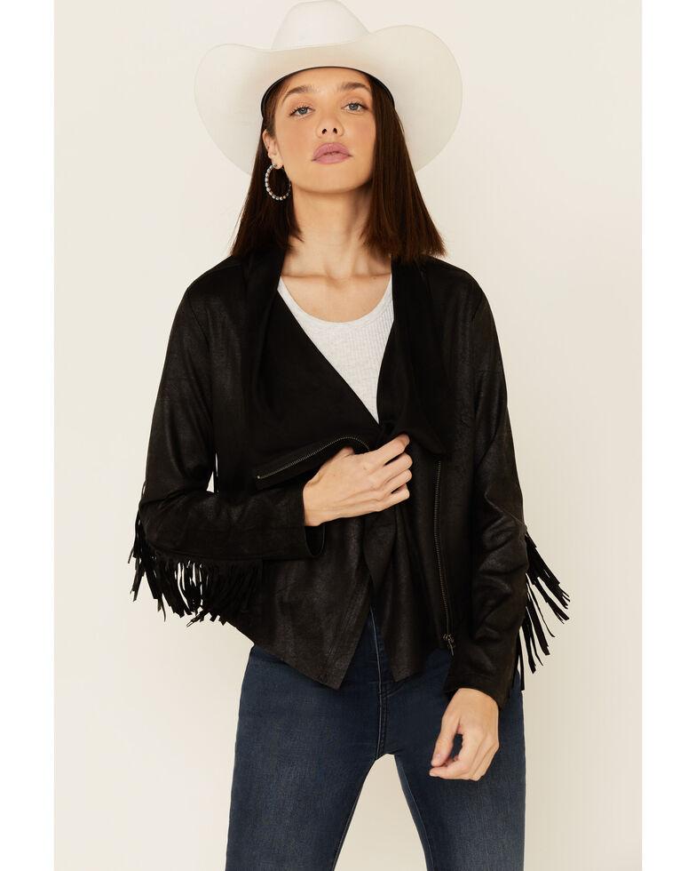 Shyanne Women's Black Faux Suede Fringe Jacket , Black, hi-res