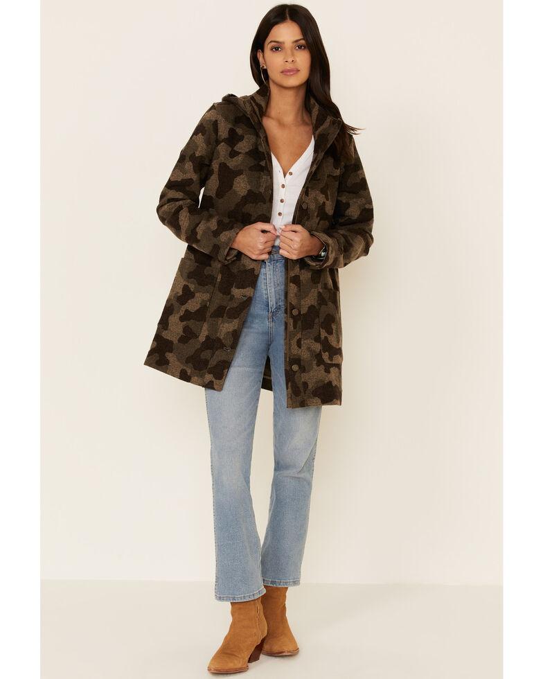 Pendleton Women's Multi Camo Wool Hooded Parka Jacket , Multi, hi-res