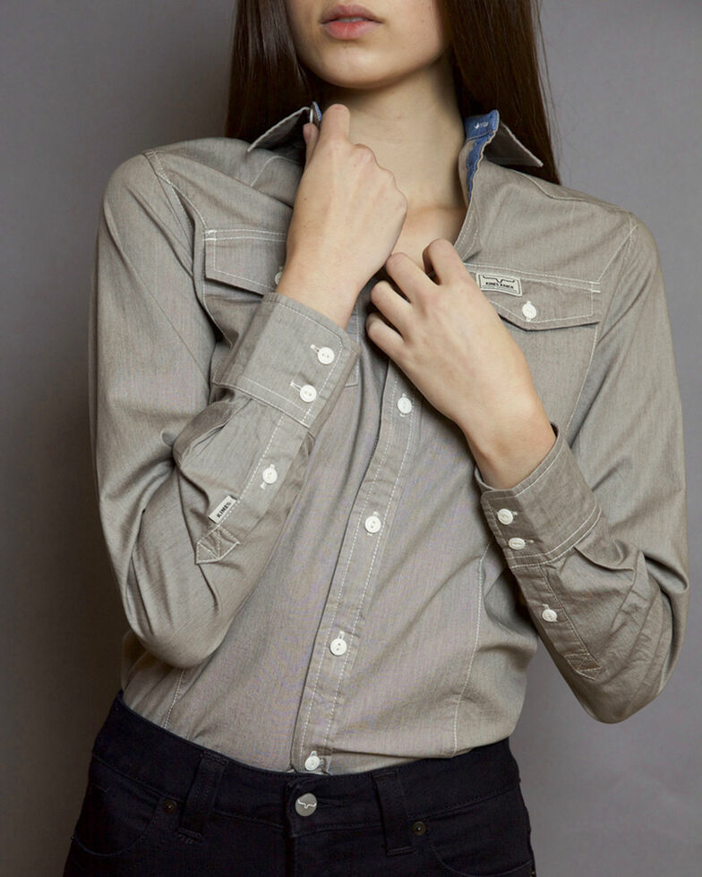 Kimes Ranch Women's Lizzie Chambray Shirt , Grey, hi-res