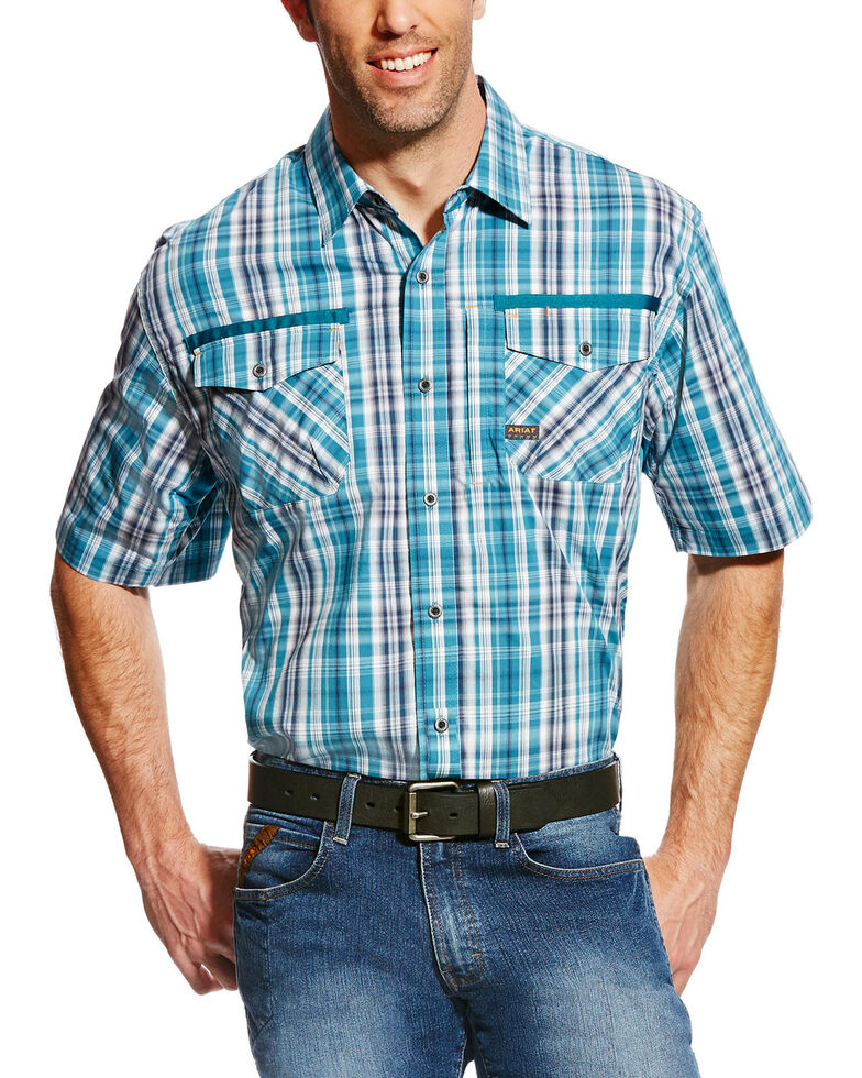 Ariat Men's Rebar Plaid Short Sleeve Work Shirt, Multi, hi-res