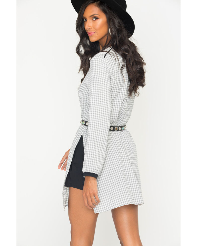 MI. OH. MI. Women's Long Sleeve Plaid Romper, , hi-res