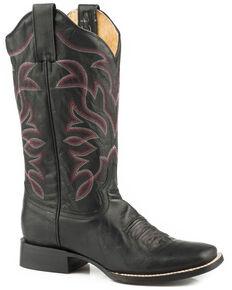Roper Women's Black Classic Wonder Leather Boots - Square Toe , Black, hi-res