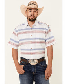 Rough Stock By Panhandle Men's Striped Camp Short Sleeve Button-Down Western Shirt , White, hi-res